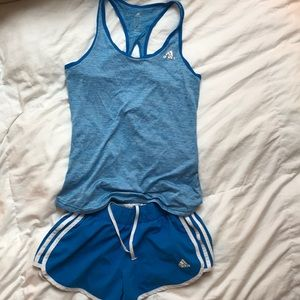 Adidas tank and short running outfit
